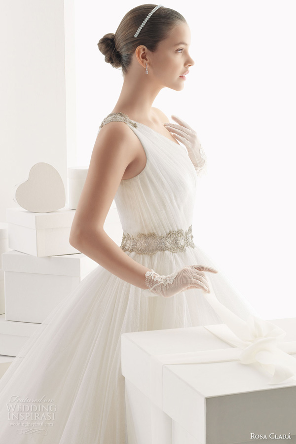 rosa clara bridal 2014 camelia one shoulder strap ball gown beaded detail