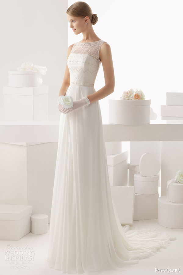 rosa clara 2014 celta sleeveless beaded bodice wedding dress full