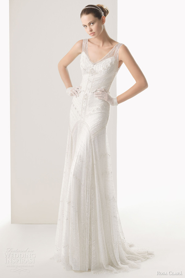 rosa clara bridal 2014 copla beaded sleeveless sheath gown front full