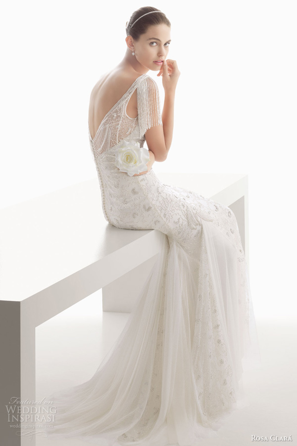 rosa clara 2014 bridal clio beaded fringe flutter sleeve wedding dress